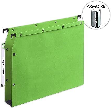 L Oblique AZ – Caja de 25 carpetas colgantes para archivador (50 mm Base, color verde lima: Amazon.es: Oficina y papelería