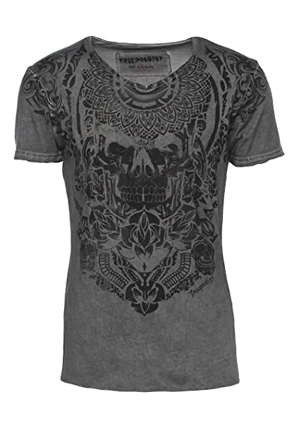trueprodigy Casual Hombre Marca Camiseta Estampado Ropa Retro Vintage Rock Vestir Moda Cuello V Manga Corta Slim fit Designer Cool Urban Fashion t-Shirt ...
