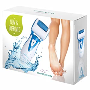 Electric Callus Remover: Rechargeable Electronic Foot File CR900 by Own Harmony(Tested Most Powerful) Best Pedicure Tools w 3 Rollers-Reg & Extra Coarse, Professional Pedi Feet Care for Cracked Heels