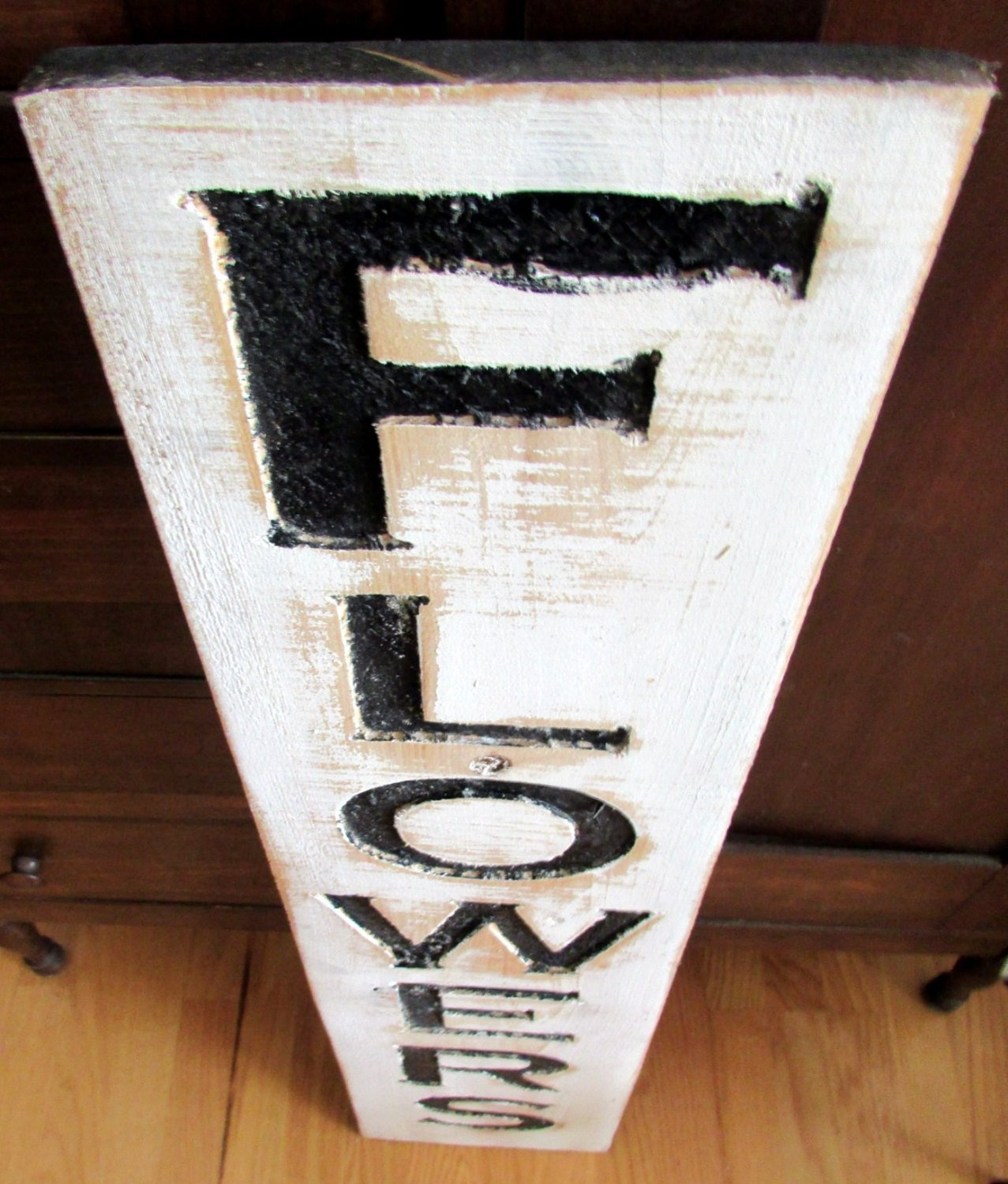 Carved in a Cypress Board Rustic Distressed Florist Shop Advertisement Farmhouse Style Nursery Wooden Wood Flowers Sign 41 Vertical