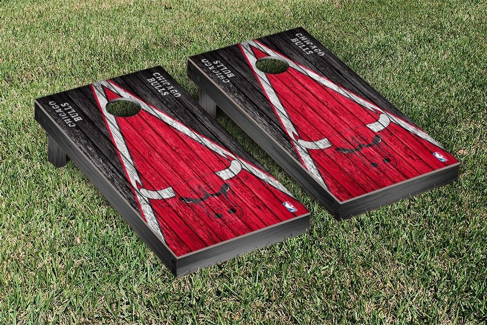 Chicago Bulls NBA Basketball Regulation Cornhole Game Set Triangle Weathered Version