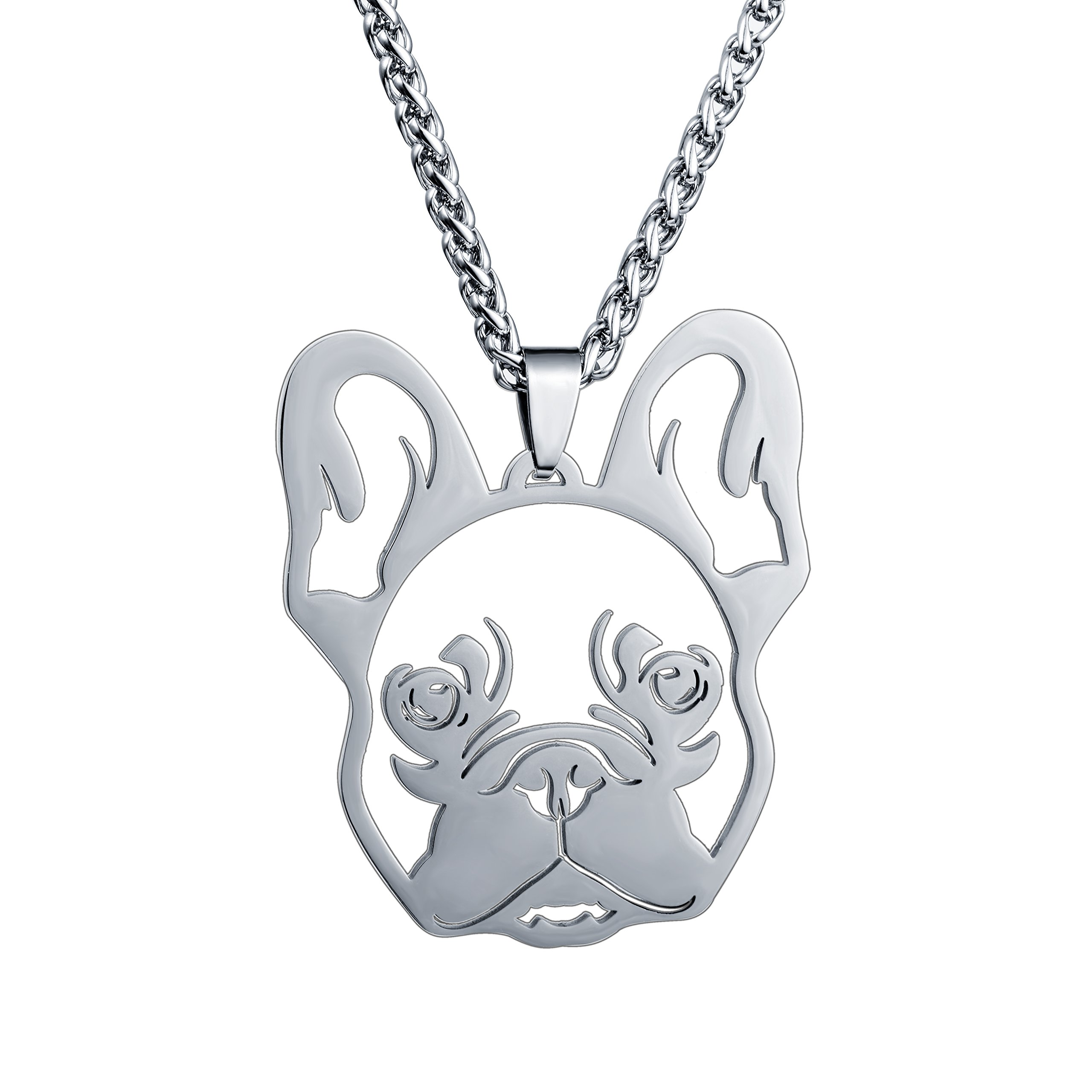 Stainless Steel French Bulldog Frenchie Bull Dog Head Face Pet Dog Charm Pendant Necklace