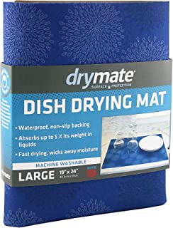 "product image for Drymate Dish Drying Mat, Premium XL Size (19"" x 24""), Kitchen Dish Drying Pad – Absorbent/Waterproof – Machine Washable (Made in the USA) (Good Medicine Blue)"