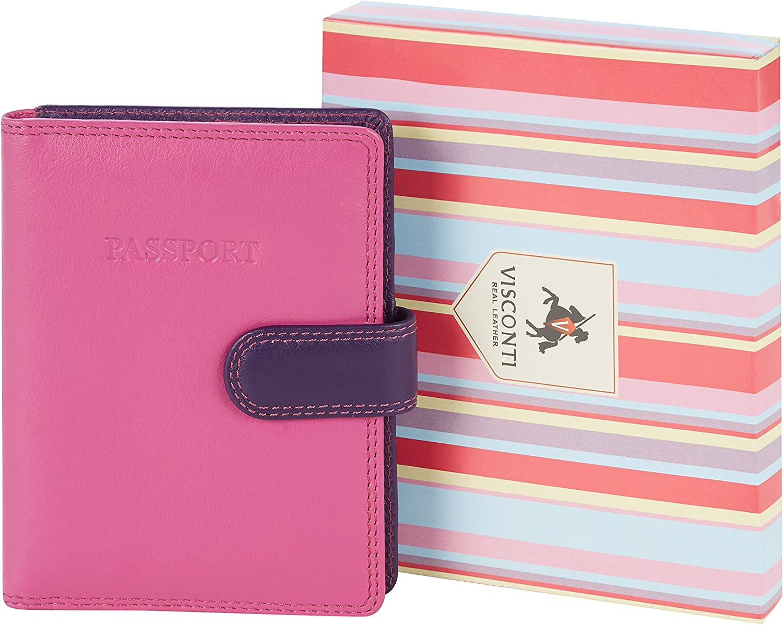 berry multi tons violets : Visconti Housse Passeport Cuir Femme Rainbow,Multicolor Passport Cover Case RB75