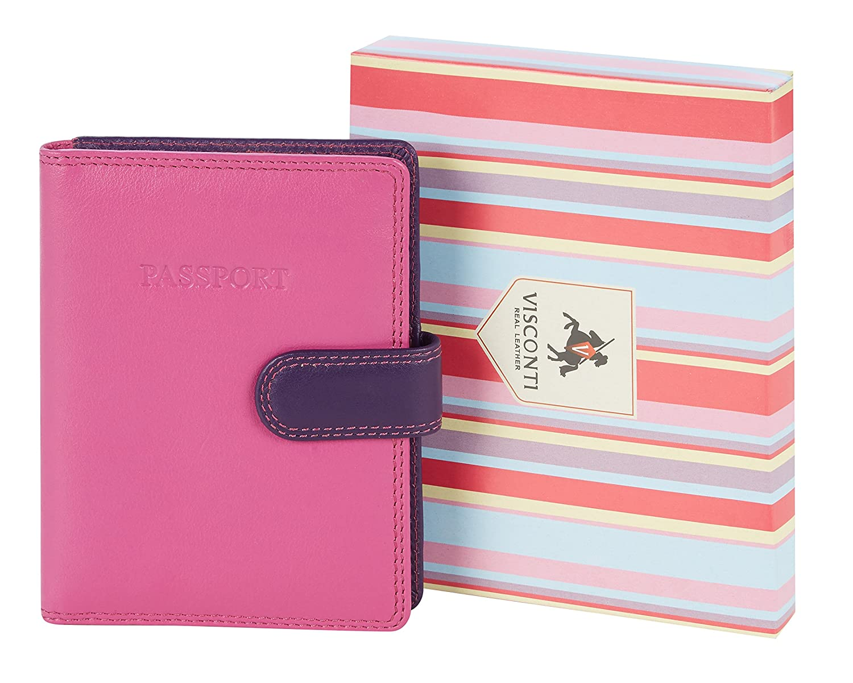 tons violets : berry multi Visconti Housse Passeport Cuir Femme Rainbow,Multicolor Passport Cover Case RB75