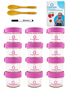PreppyBaby 4 oz Glass Baby Food Storage Containers with Lids - Pack of 12 Reusable Dishwasher & Microwave Safe Food Jars w/ 2 Bamboo Infant Spoons, Recipe Booklet & Non-Toxic Easy Erase Marker (Pink)