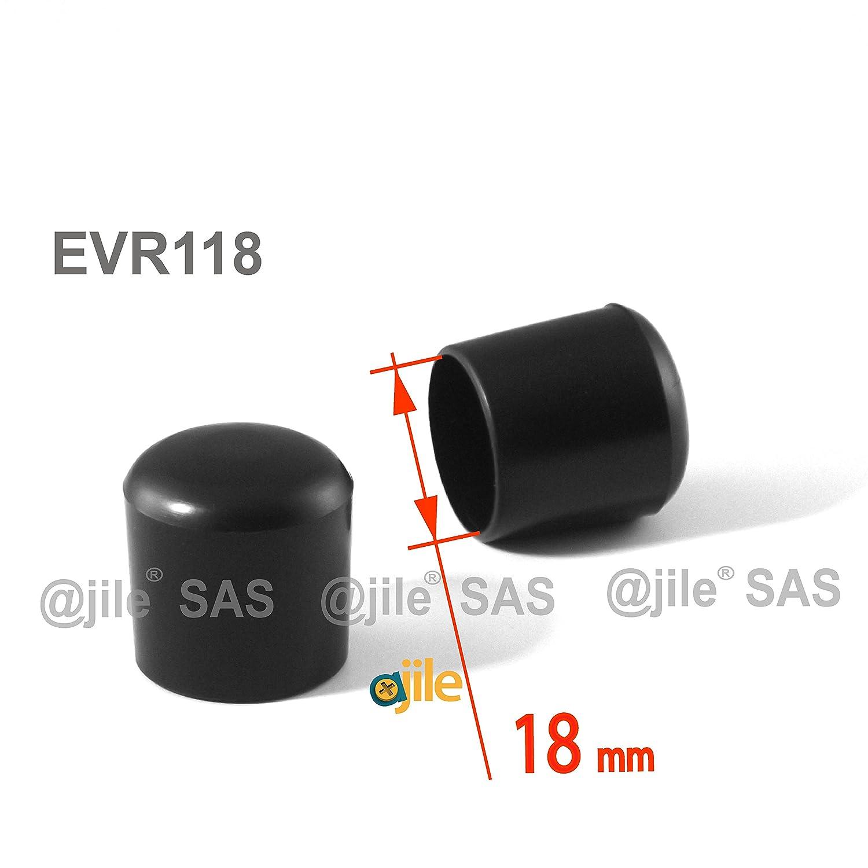 Embout enveloppant rond pour tubes de diam 12 pi/èces NOIR 18 mm EVR118-M ajile