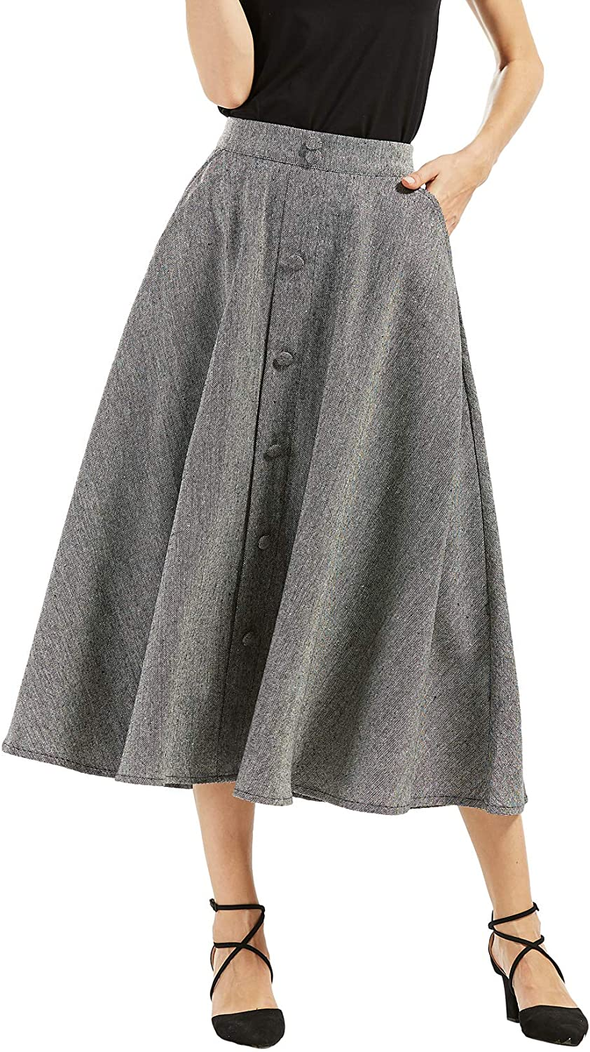 1940s Teenage Fashion: Girls chouyatou Womans Vintage High Waist Front Button Long Skirt with Pockets $35.98 AT vintagedancer.com
