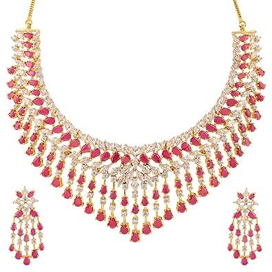 buy swasti jewels american diamond cz zircon necklace earrings set
