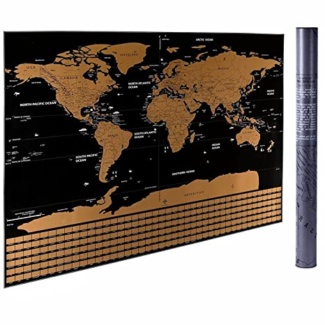 Amazon.com : Large Scratch-Off World Map Wall Poster with Colorful ...