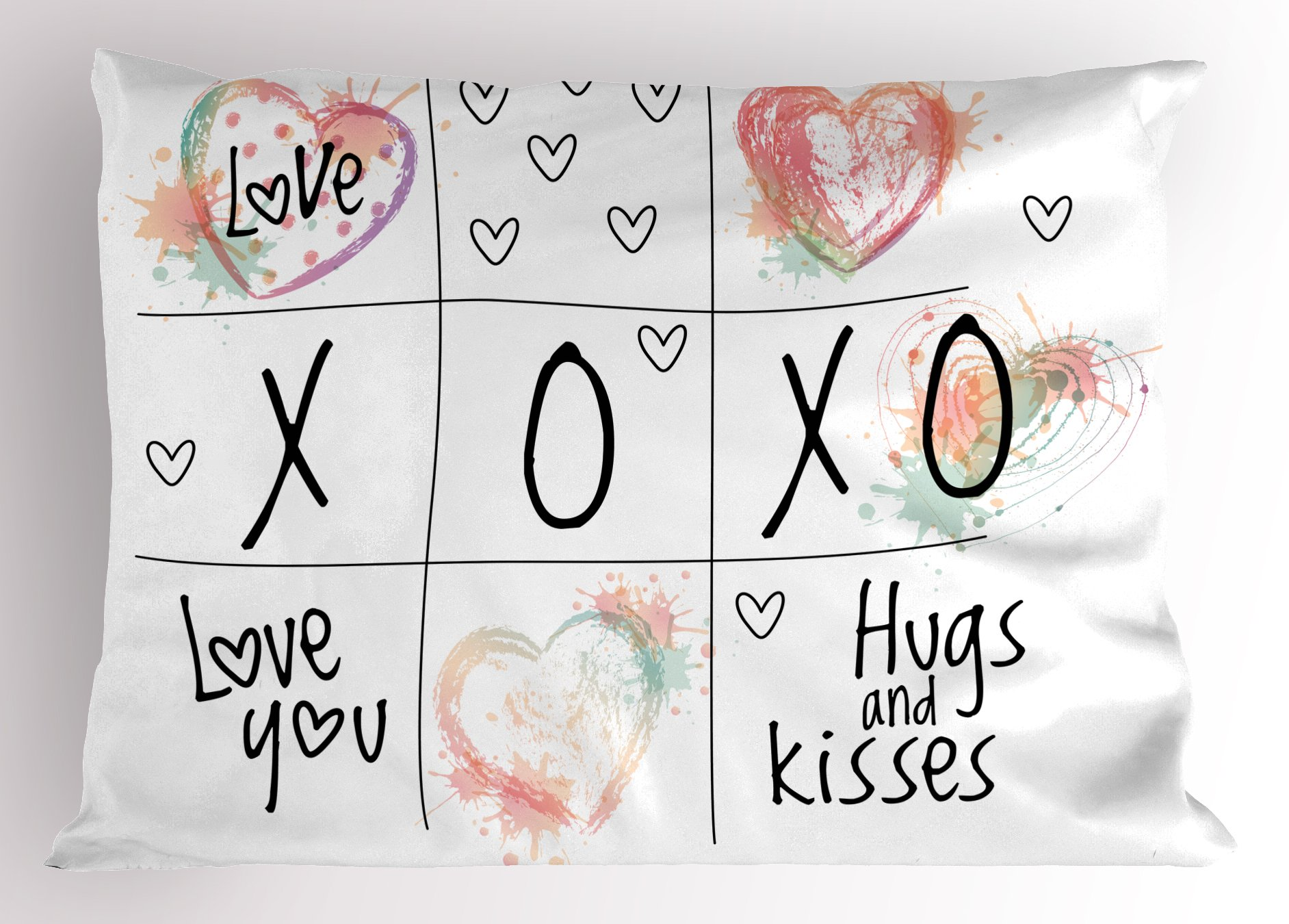Ambesonne Xo Decor Pillow Sham, Love You Hugs Kisses Watercolor Splashes Heart Icon Valentines Artwork, Decorative Standard Size Printed Pillowcase, 26 X 20 inches, Coral Mint Black White