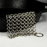 "Knapp Made 4.5"" Small Ring Chainmail Scrubber - for Cast Iron, Premium Stainless Steel and Hard Anodized Cookware"