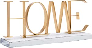 MyGift Home Gold-Tone Metal Letter Decorative Sign with Whitewashed Wood Base, 12 Inch