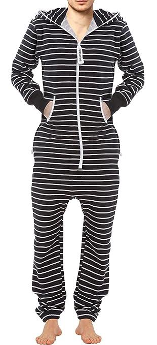 3319d32e0a1c Amazon Men s Fashion Onesie Printed Jumpsuit Bengal Stripes White Black S