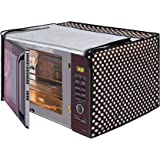 Glassiano Polka White and Black Printed Microwave Oven Cover for LG 32 Litre MJ3286BRUS Convection Microwave Oven