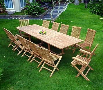 salon en teck pour le jardin, table rectangle grande taille 3 mètres ...