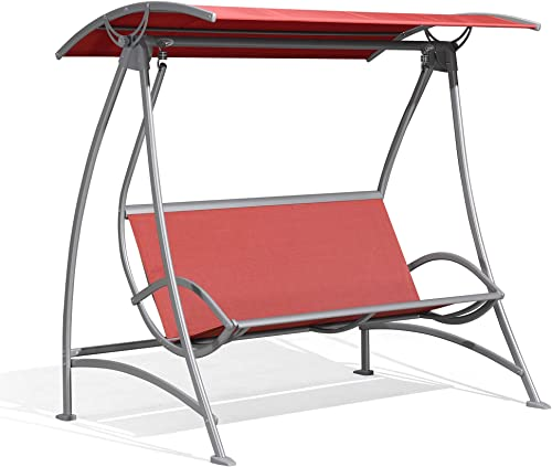 PURPLE LEAF 3-Seat Deluxe Outdoor Patio Porch Swing with Weather Resistant Steel Frame,Red