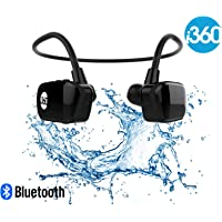 i360 Bluetooth 8GB Waterproof MP3 Player Earphones Earbuds Headphones Headset (Black Edition) Listen to your Music Whilst Swimming/Running/Training/Gym Fuss Free