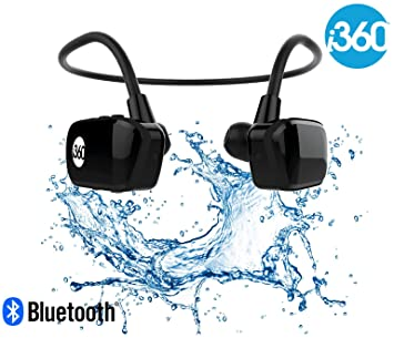 i360 Bluetooth 8GB Waterproof MP3 Player Earphones Earbuds Headphones  Headset (Black Edition) Listen to your Music Whilst