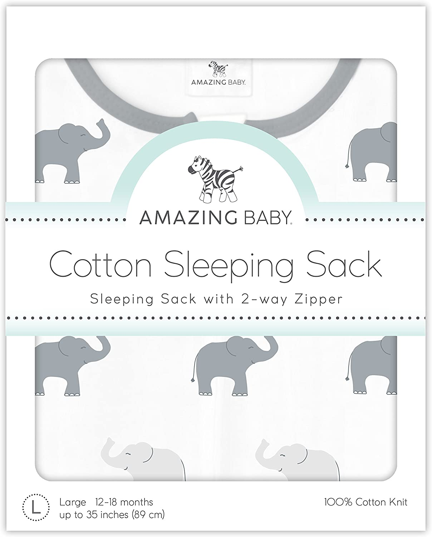 Plata Peque/ño Saquito de Dormir de Algod/ón con Cremallera de 2 V/ías 0-6 Meses Amazing Baby by SwaddleDesigns Elefantes Peque/ños
