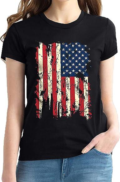 Camiseta vintage envejecida con bandera de Estados Unidos para hombre y mujer adulta con bandera de Patriotas estadounidenses - - Large: Amazon.es: Ropa y accesorios