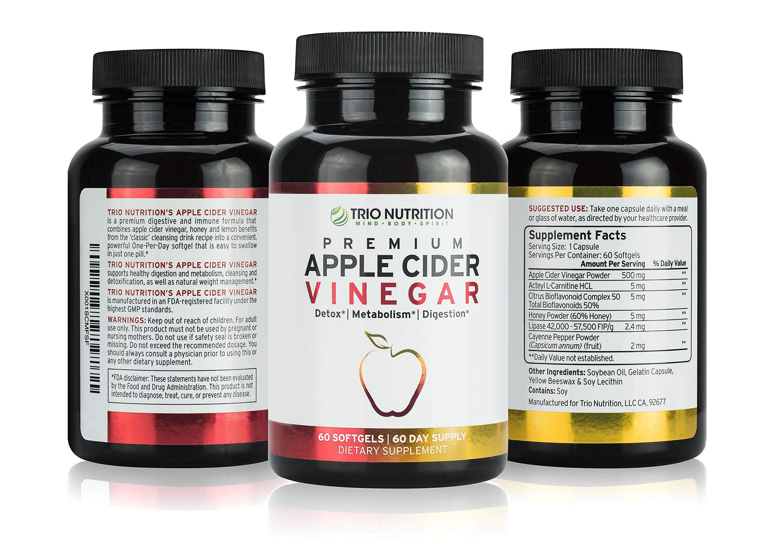 Apple Cider Vinegar Capsules with Cayenne, Lemon, Honey 60 Softgels, 520mg Detox Cleanse Drink in a Pill Appetite Suppressant Blood Sugar Support Blood Pressure Detox