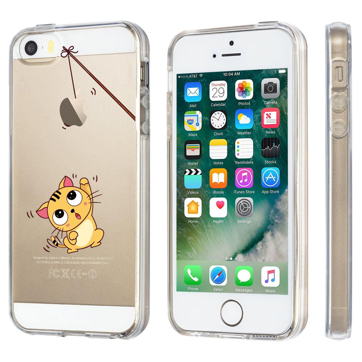 Iphone 5 5s Case Jaholan Amusing Whimsical Design Clear Hippo Tempered Glass Crystal Screen Guard 5c Bumper Tpu Soft Rubber Silicone Cover For Se Cat Fishing Cell