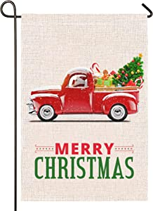 Atenia Burlap Garden Flag, Double Sided Garden Outdoor Yard Flags for Christmas Decor (Christmas Truck)