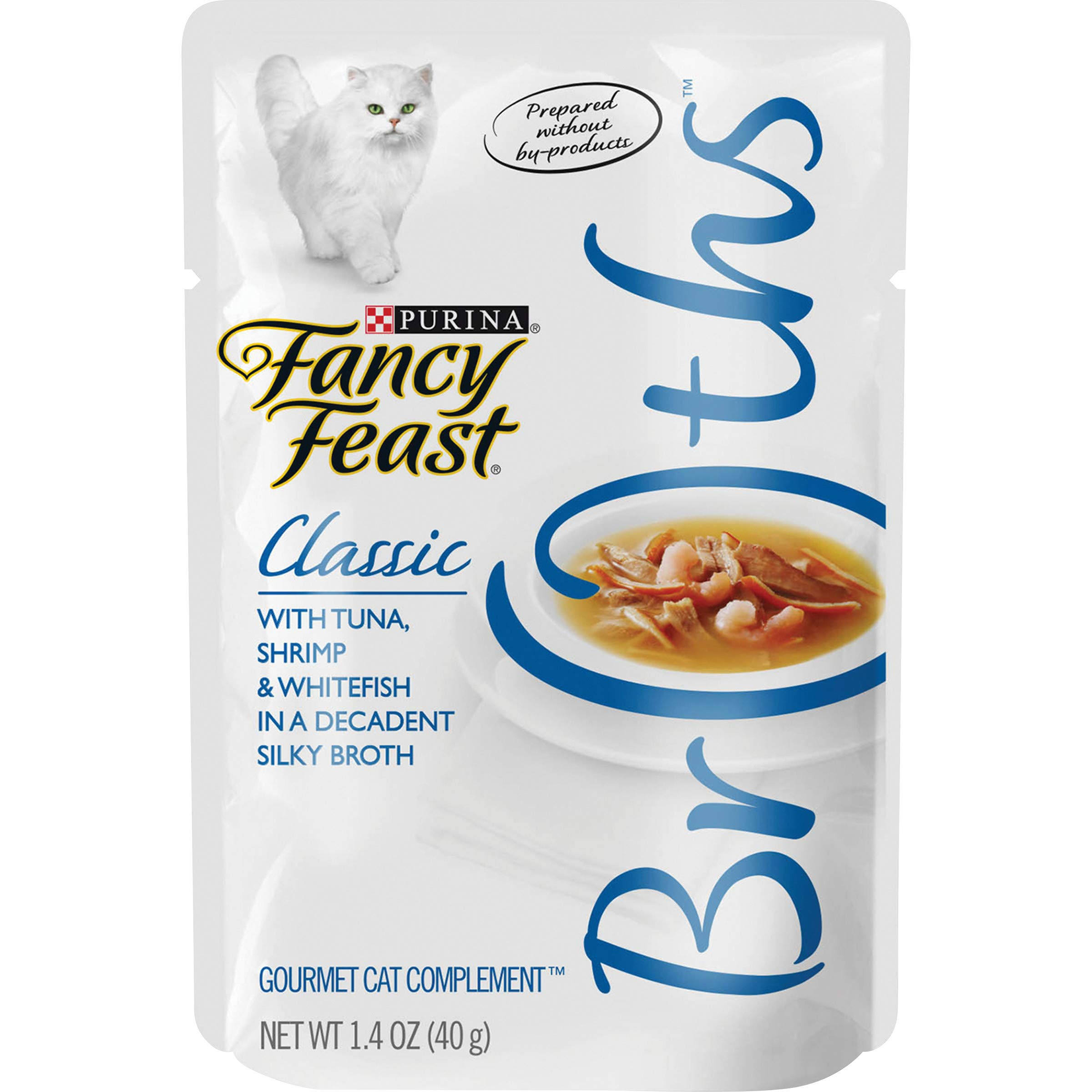 Purina Fancy Feast Broth Wet Cat Food Complement, Broths With Tuna, Shrimp & Whitefish - (16) 1.4 oz. Pouches by Purina Fancy Feast