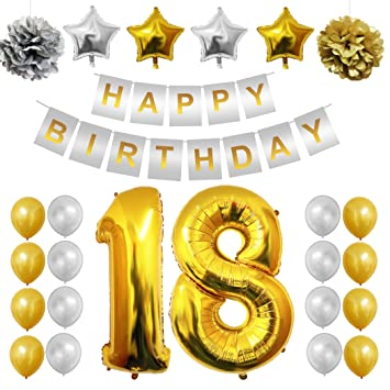 Complete 18th Happy Birthday Party Balloons Set Supplies Decorations By Belle Vous