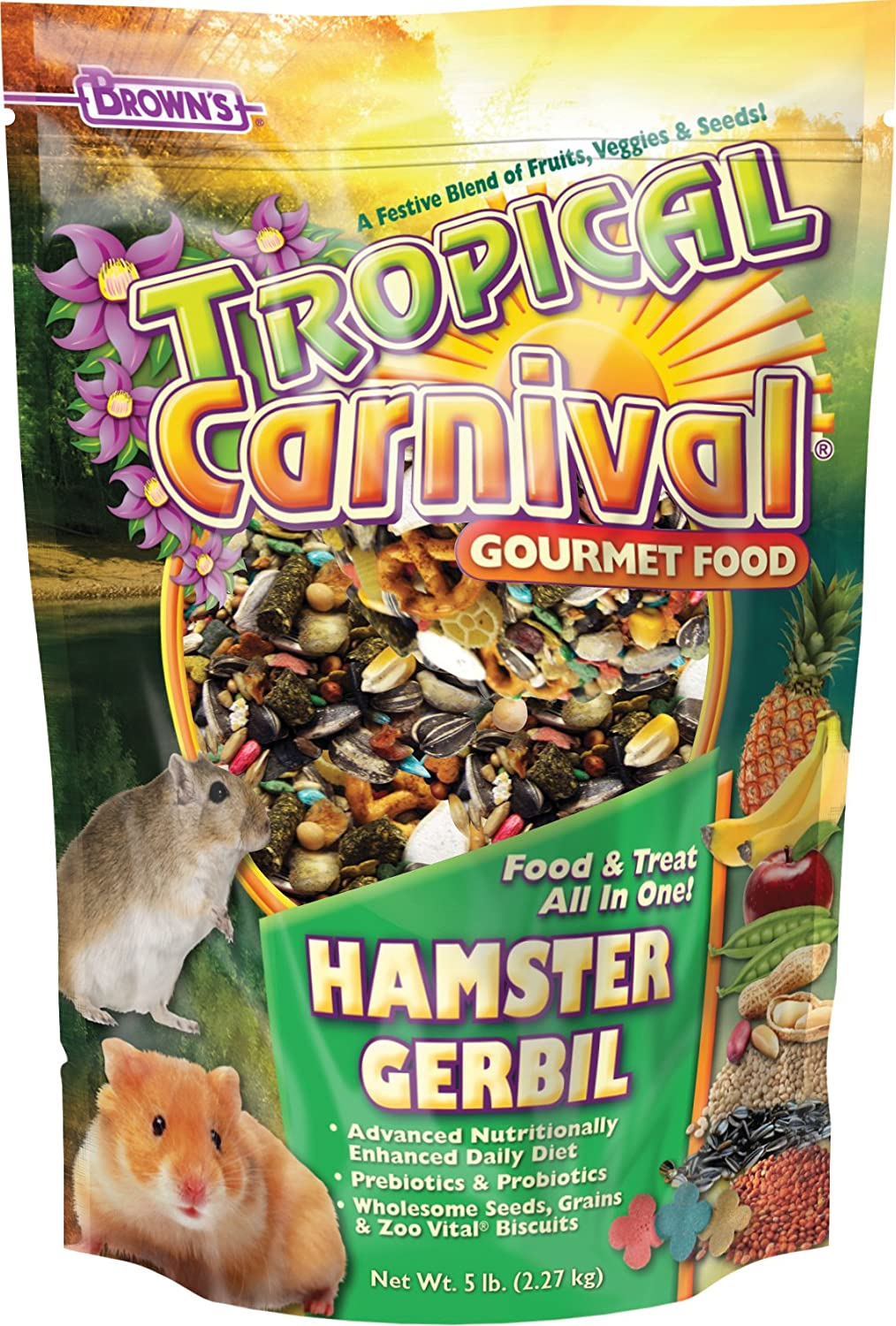 Tropical Carnival F.M. Brown's Gourmet Hamster and Gerbil Food with Fruits, Veggies, Seeds, and Grains, Vitamin-Nutrient Fortified Daily Diet