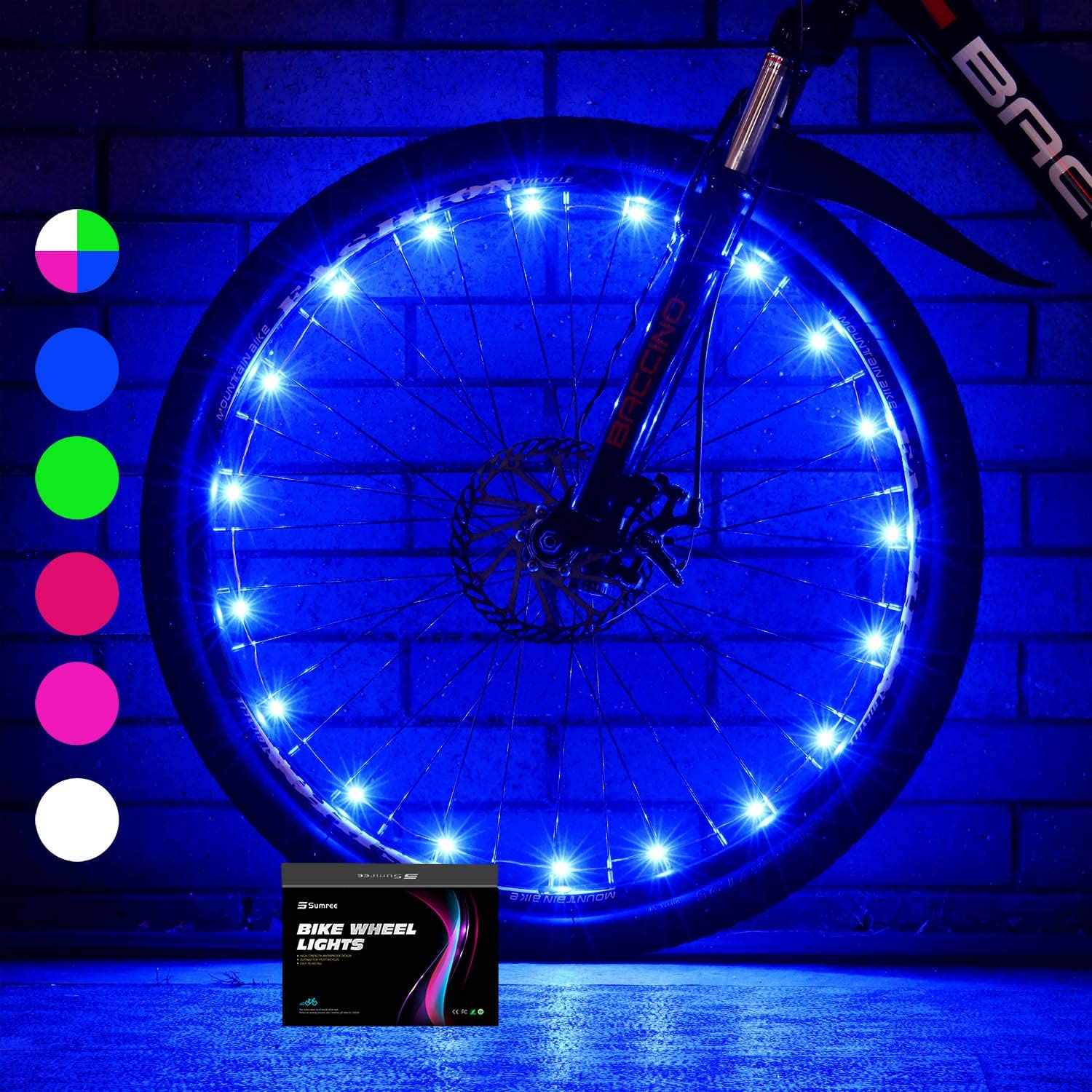 Sumree Bike Wheel Lights LED Bike Spoke Light Super Bright Cycling Bicycle Light with Batteries Included (1 Wheel Pack)
