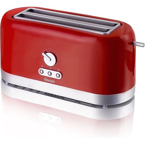 Swan 4 Slice Long Slot Red Toaster
