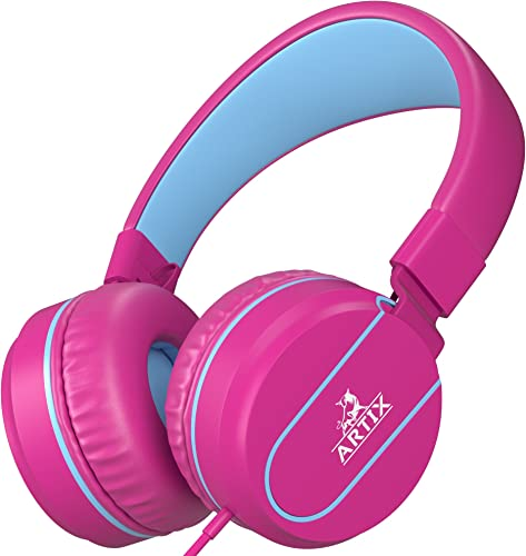 Artix Foldable On-Ear Adjustable Tangle-Free Wired Headphones, Compact Stereo Earphones with in-line Microphone and Controls for Children Teen Head Phones for Sport, Travel, School – Pink