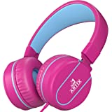 Artix Foldable Headphones with Microphone | NRGSound On-Ear Earphones for Travel, Work, Running Sport with In-line Controller | Great for Kids/Teens/Adults - Pink