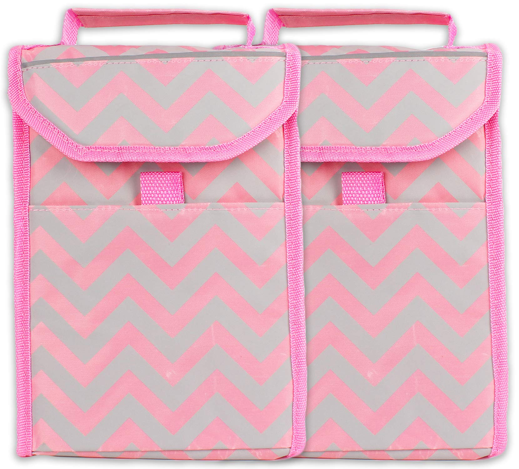 bogo Brands Soft-Sided Insulated Lunch Kit Cooler Tote Bag Pink Chevron Striped On-The-Go Loncheras Lunchbag by (2 Pack)