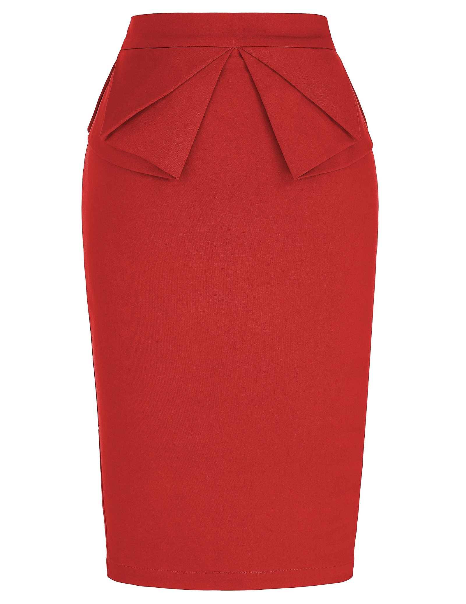 PrettyWorld Vintage Dress Elegant Women's Elastic Waist Stretchy Office Pencil Skirt Red (L) KL-2 CL454