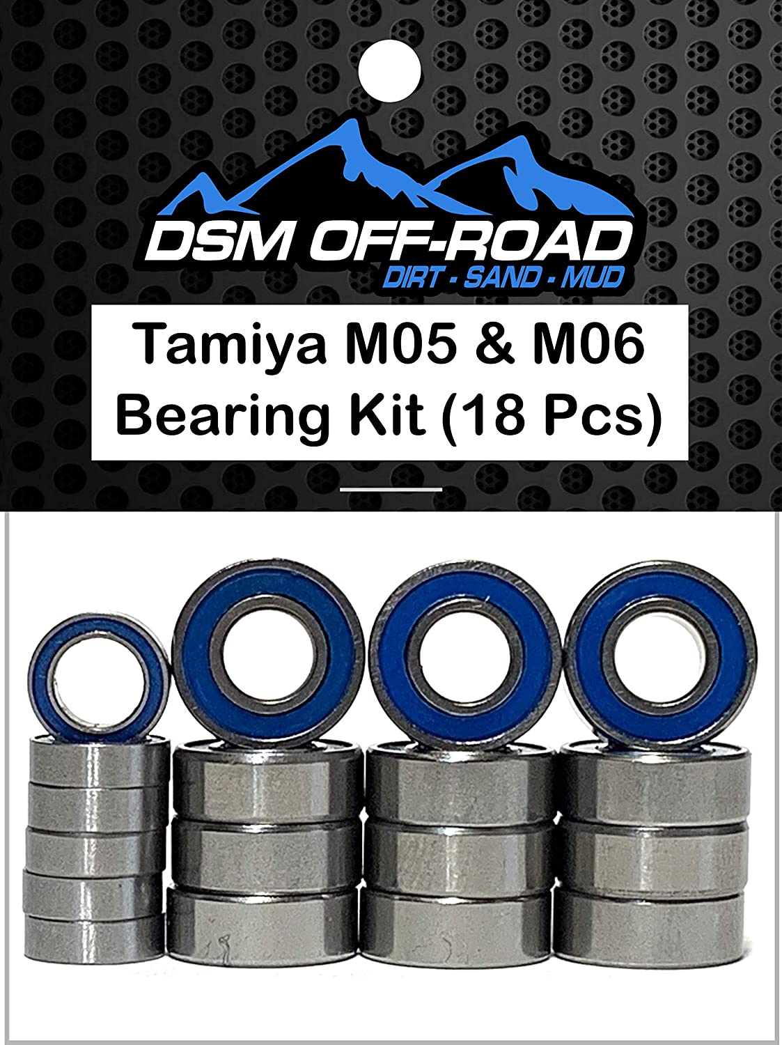 18 Bearings DSM Off-Road Rubber Sealed Bearing Kit for Tamiya M05 and M06 Chassis