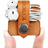 TOPHOME Cord Organizer Headset Headphone Earphone Wrap Winder/ Cord Manager/ Cable Winder with Genuine Leather Handmade