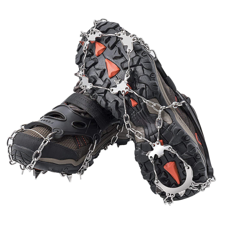 AUHIKE 18 Dents Griffes Crampons l Chaussures Antidérapantes Couvercle Avec Chaîne en Acier Inoxydable pour la Marche sur la Neige et la Glace