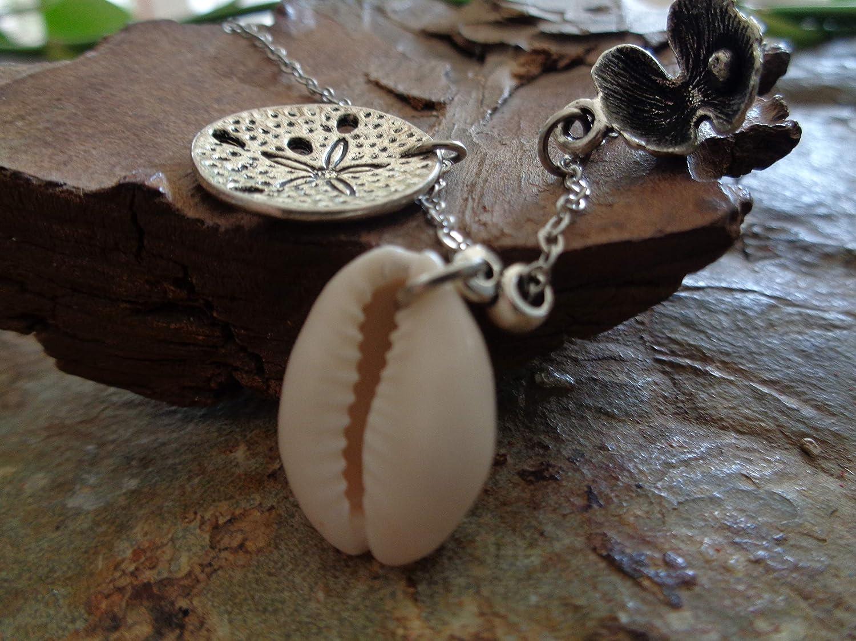 SEESTERN /& OPEN SHELL ✿ Collier d/élicat avec trois pendentifs GENUINE KAURI SHELL