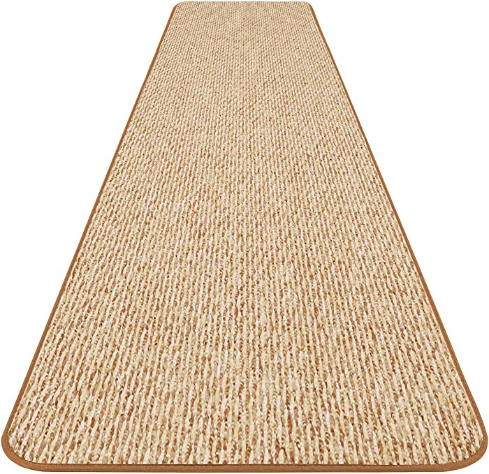 House, Home and More Skid-Resistant Carpet Runner - Praline Brown - 8 Feet X 36 Inches
