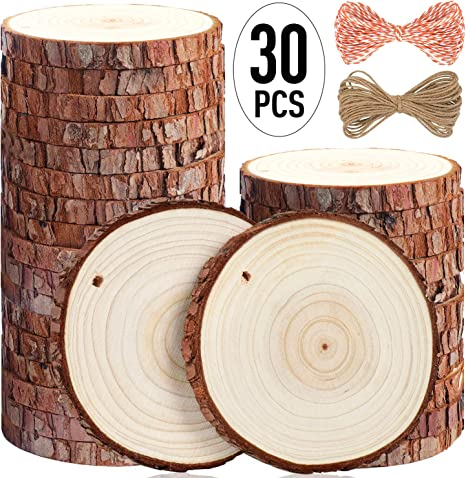 Fuyit Natural Wood Slices 20 Pcs 3.5-4.0 Drilled Hole Unfinished Log Wooden Circles for DIY Crafts Wedding Decorations Christmas Ornaments with Free Gifts