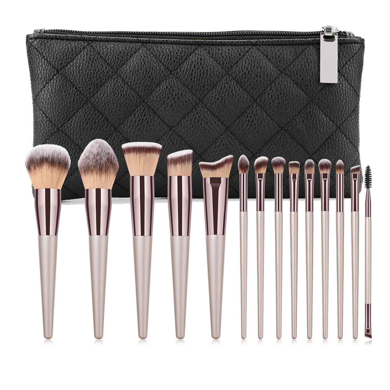 Aolongli 14Pcs Makeup Brushes Set & Zip Bag Professional Kabuki Brush Set Premium Synthetic Hair Foundation Eyeshadow Powder Blending Eyebrow Eyelash Brushes Cosmetic Makeup Brush Kit (Champagne Gold)
