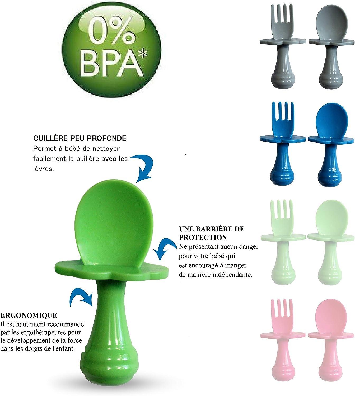 Juego de cubiertos para alentar a su beb/é a comer independientemente Cuchara para beb/é Pack de 2, Rojo Tenedor para beb/é Cuchara y tenedor para beb/é Multicolor sin BPA.