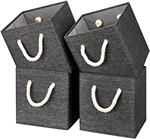 i BKGOO Foldable Storage Cube Bins Black Linen Fabric Collapsible Resistant Basket Box Organizer with Cotton Rope Handle for Home Office and Nursery 10.5x10.5x11 inch