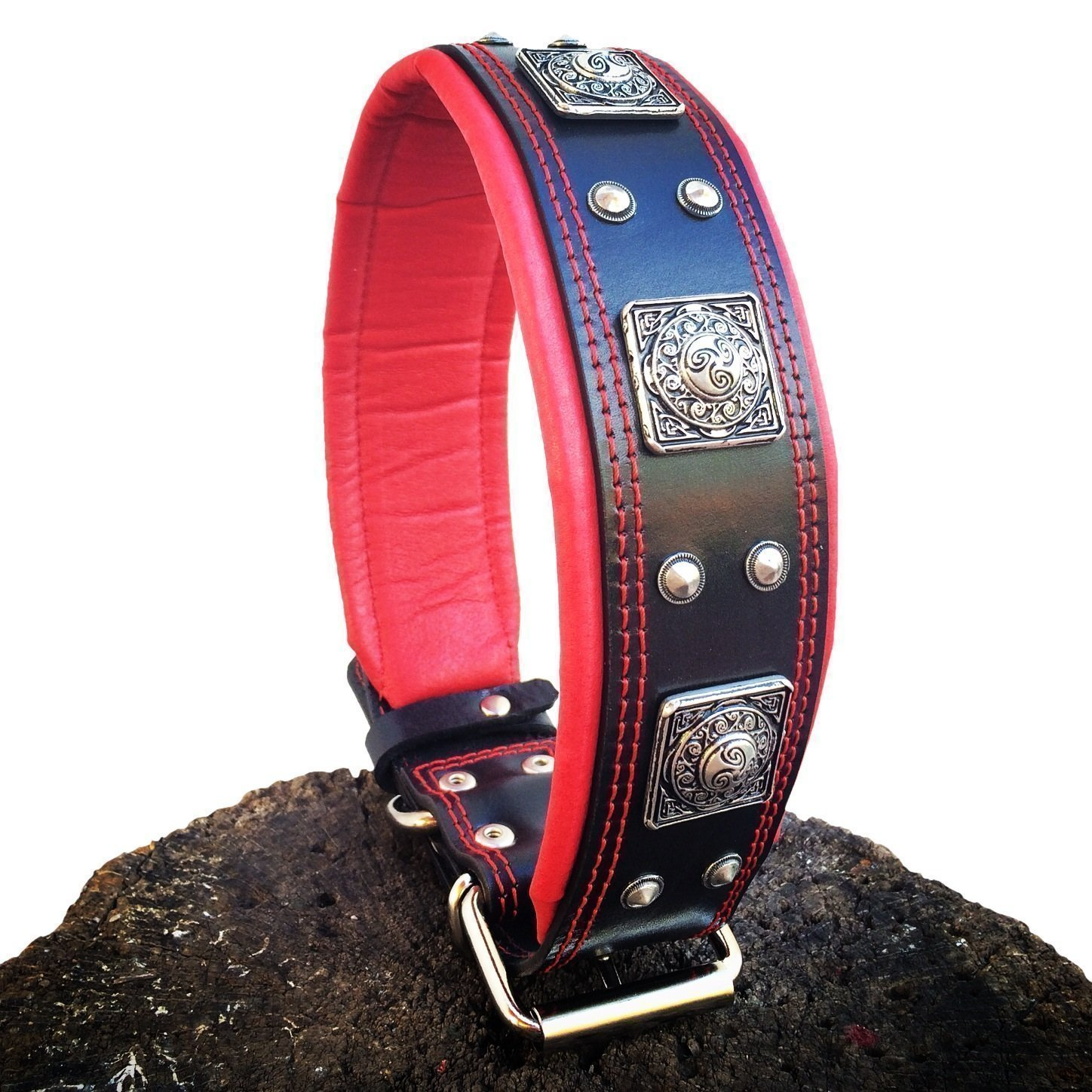 M- fits a neck of 16.7 20.6 inch Bestia EROS Genuine Leather Dog Collar, Large Breeds, Cane Corso, redtweiler, Boxer, Bullmastiff, Dogo, Quality Dog Collar, 100% Leather, Studded, L- XXL Size, 2.5 inch Wide. Padded. Made in Europe