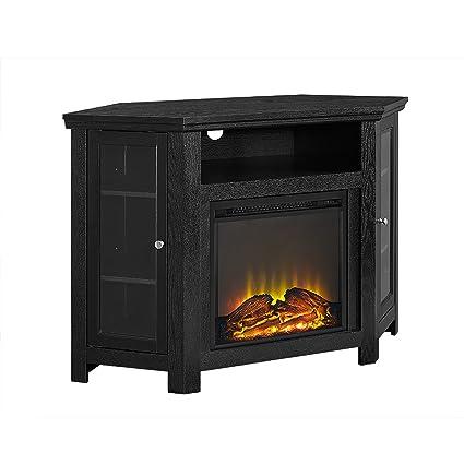 Amazon Com Mevaence 48 Black Corner Fireplace Tv Stand Kitchen