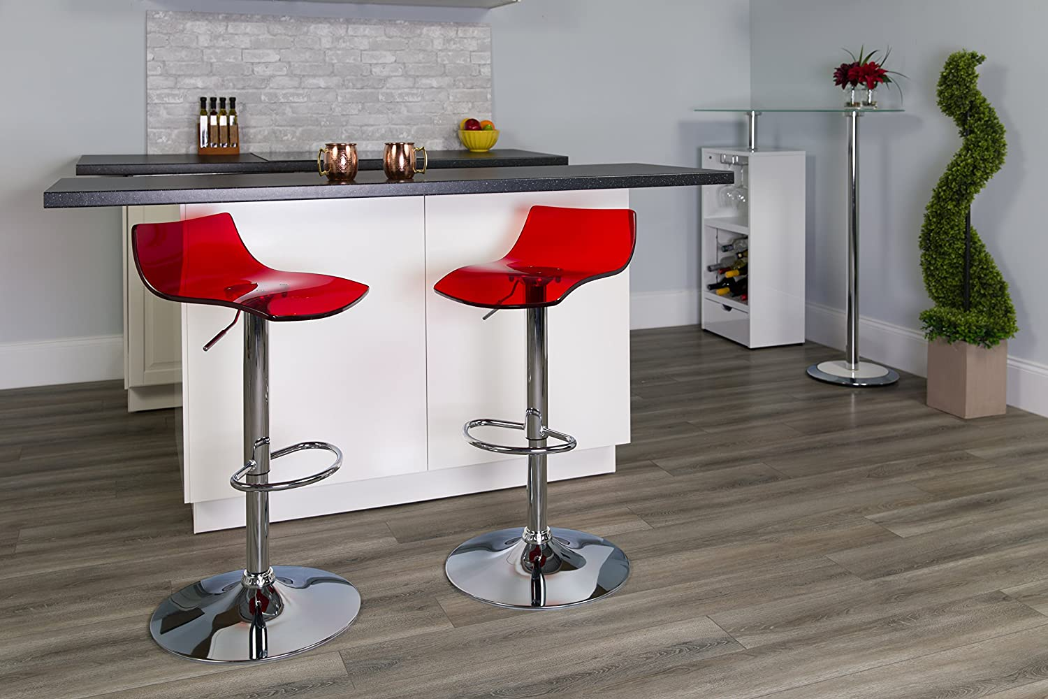Flash Furniture 2 Pk. Contemporary Transparent Red Acrylic Adjustable Height Barstool with Chrome Base