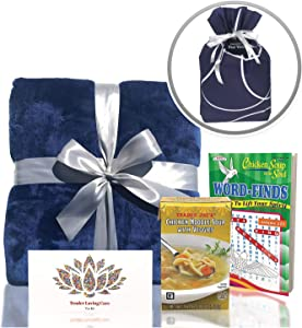 Get Well Gifts Box - Includes Luxury Blanket Wellness Tea Chicken Soup and Word Find Book | Get Well Soon Gifts for Women | Get Well Gifts for Men Presented in Beautiful Gift Box with Ribbon (Blue)